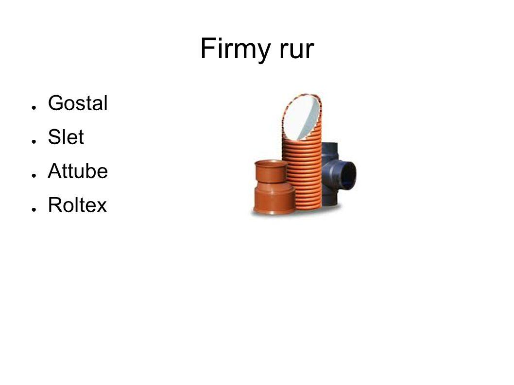 Firmy rur ● Gostal ● Slet ● Attube ● Roltex