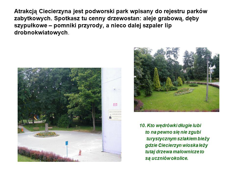 Atrakcją Ciecierzyna jest podworski park wpisany do rejestru parków zabytkowych.