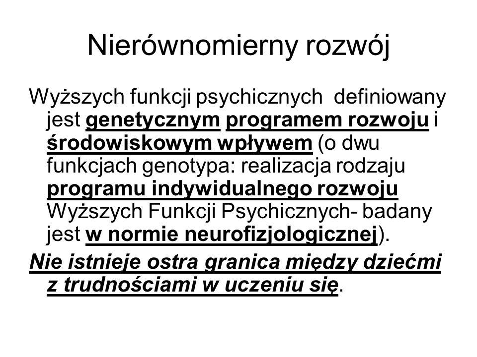 Nierównomierny rozwój Wyższych funkcji psychicznych definiowany jest genetycznym programem rozwoju i środowiskowym wpływem (o dwu funkcjach genotypa: realizacja rodzaju programu indywidualnego rozwoju Wyższych Funkcji Psychicznych- badany jest w normie neurofizjologicznej).