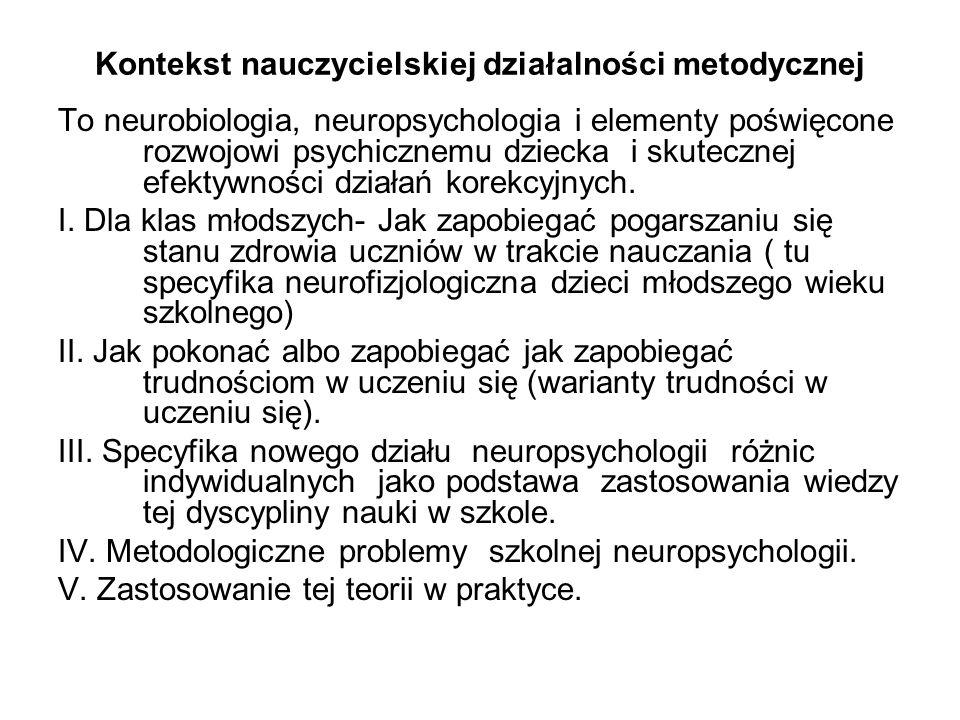 Kontekst nauczycielskiej działalności metodycznej To neurobiologia, neuropsychologia i elementy poświęcone rozwojowi psychicznemu dziecka i skutecznej efektywności działań korekcyjnych.
