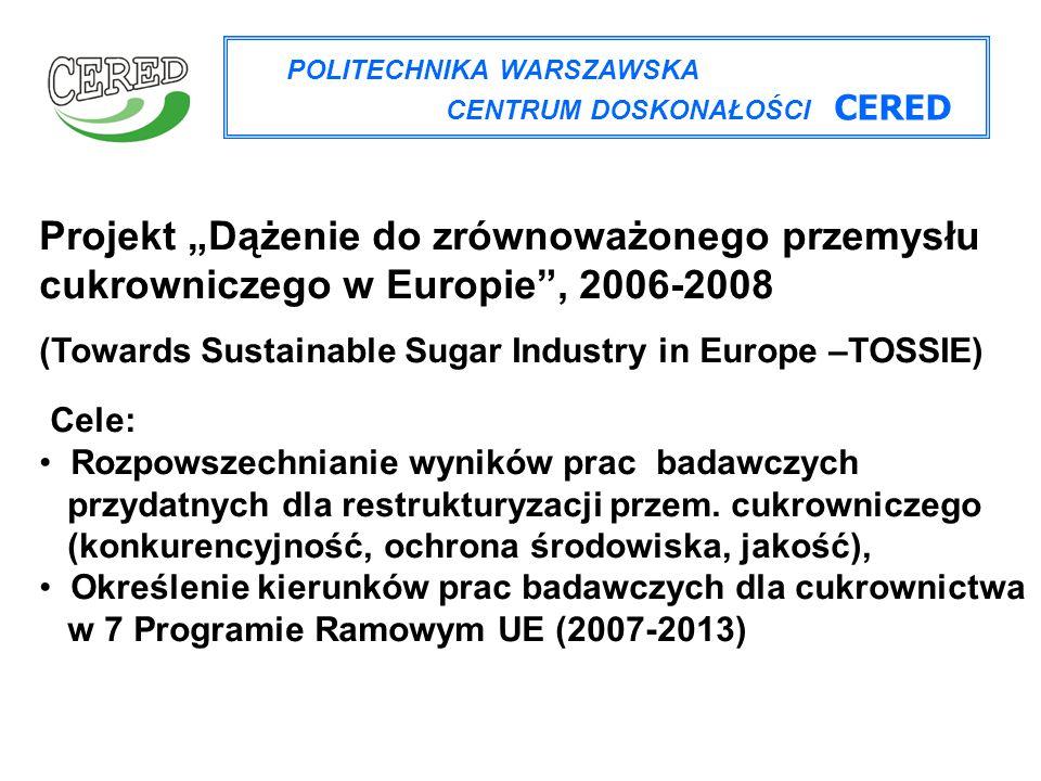 """POLITECHNIKA WARSZAWSKA CENTRUM DOSKONAŁOŚCI CERED Projekt """"Dążenie do zrównoważonego przemysłu cukrowniczego w Europie"""", 2006-2008 (Towards Sustainab"""