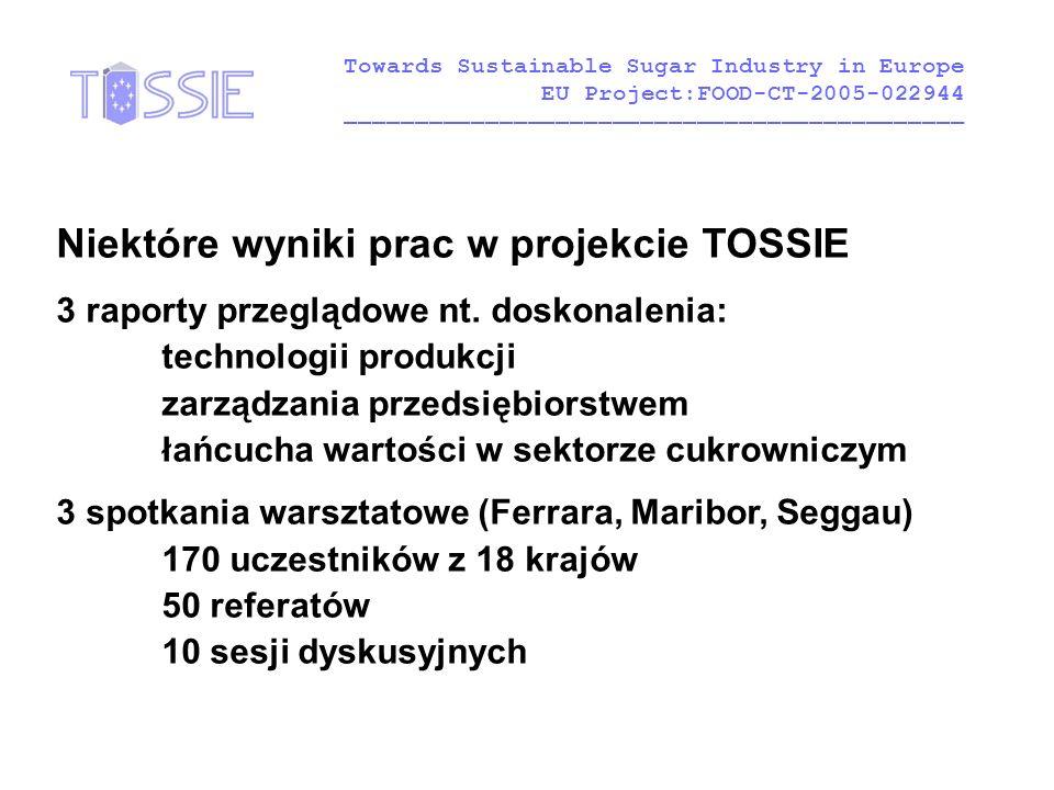 Niektóre wyniki prac w projekcie TOSSIE 3 raporty przeglądowe nt. doskonalenia: technologii produkcji zarządzania przedsiębiorstwem łańcucha wartości