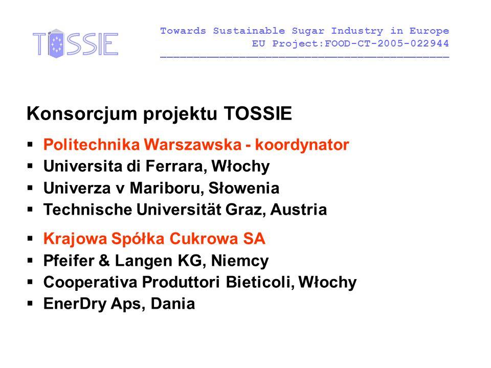 Konsorcjum projektu TOSSIE  Politechnika Warszawska - koordynator  Universita di Ferrara, Włochy  Univerza v Mariboru, Słowenia  Technische Univer