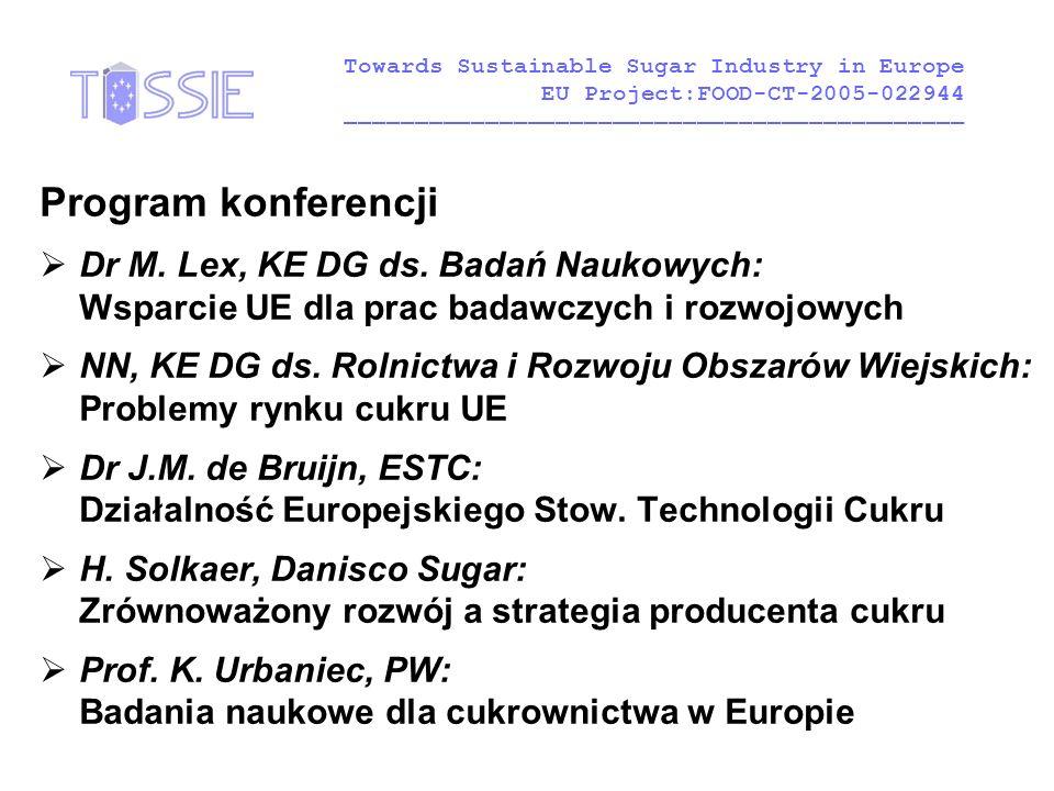 Program konferencji  Dr M. Lex, KE DG ds. Badań Naukowych: Wsparcie UE dla prac badawczych i rozwojowych  NN, KE DG ds. Rolnictwa i Rozwoju Obszarów