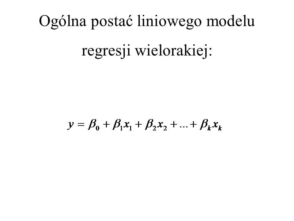 Ogólna postać liniowego modelu regresji wielorakiej: