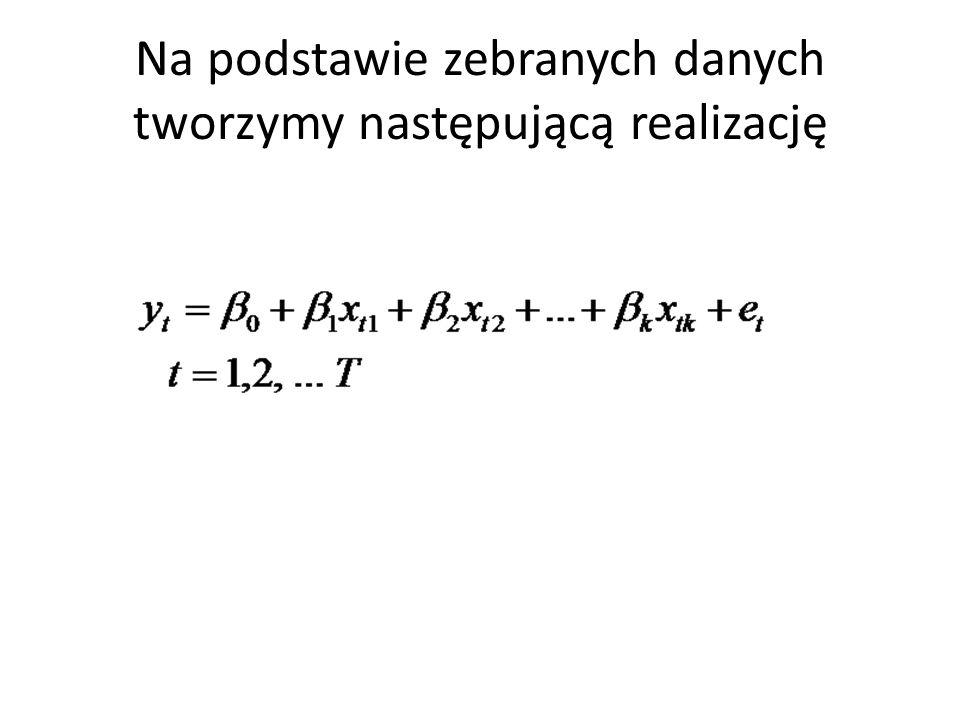 W postaci macierzowej : y – wektor zaobserwowanch wartości zmiennej objaśnianej X – macierz zaobserwowanych wartości zmiennych objaśniających, pierwsza kolumna dotyczy wyrazu wolnego β – wektor parametrów modelu e – składnik losowy
