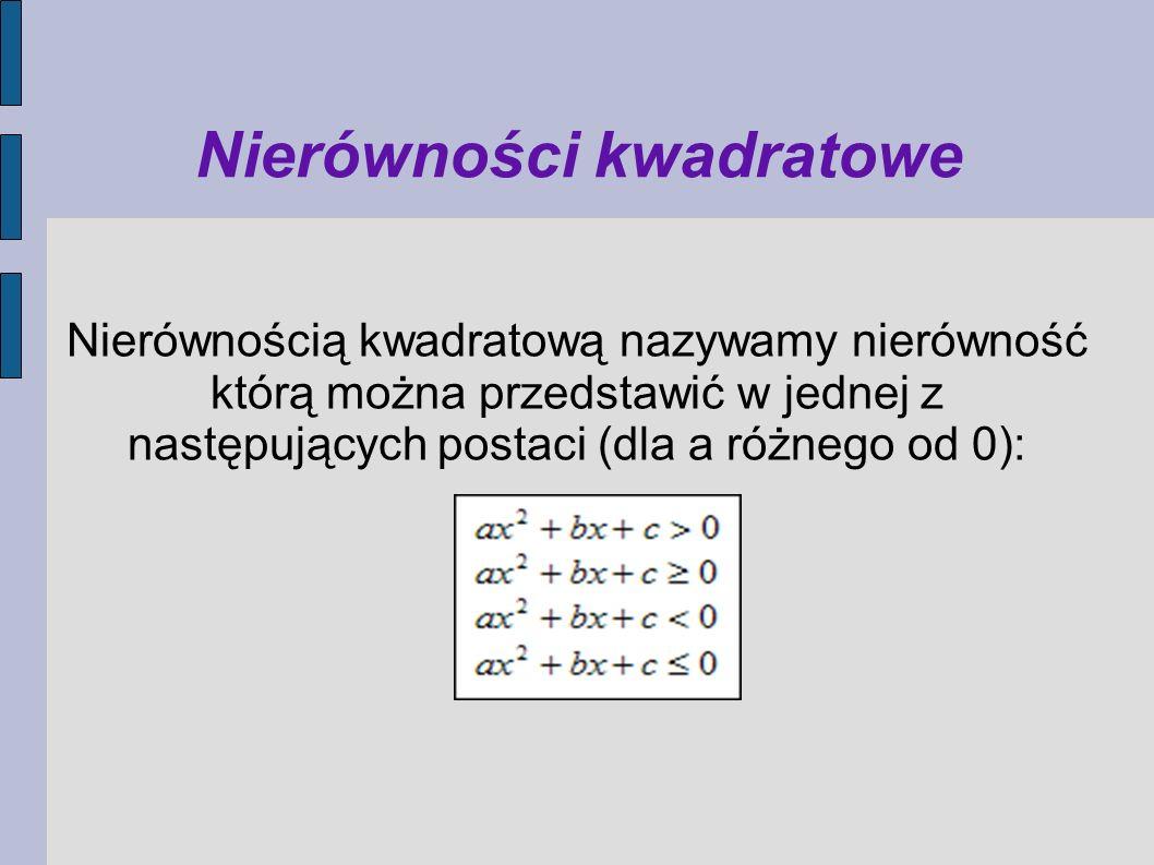 Nierówności kwadratowe Nierównością kwadratową nazywamy nierówność którą można przedstawić w jednej z następujących postaci (dla a różnego od 0):