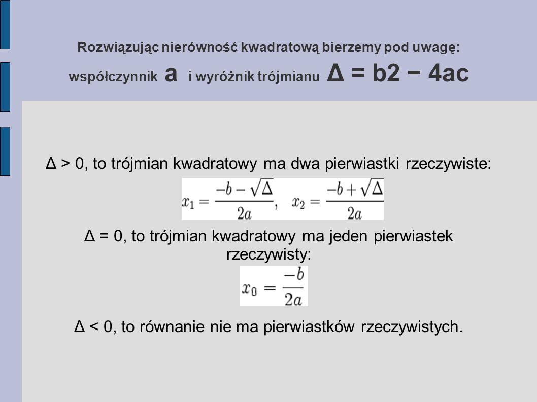 Rozwiązując nierówność kwadratową bierzemy pod uwagę: współczynnik a i wyróżnik trójmianu Δ = b2 − 4ac Δ > 0, to trójmian kwadratowy ma dwa pierwiastki rzeczywiste: Δ = 0, to trójmian kwadratowy ma jeden pierwiastek rzeczywisty: Δ < 0, to równanie nie ma pierwiastków rzeczywistych.