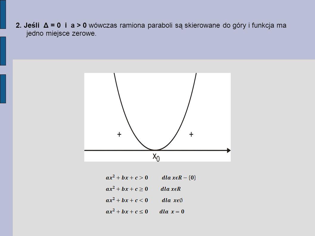 2. Jeśli Δ = 0 i a > 0 wówczas ramiona paraboli są skierowane do góry i funkcja ma jedno miejsce zerowe.
