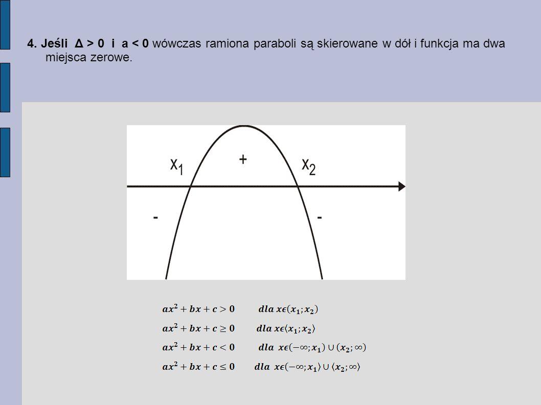 4. Jeśli Δ > 0 i a < 0 wówczas ramiona paraboli są skierowane w dół i funkcja ma dwa miejsca zerowe.