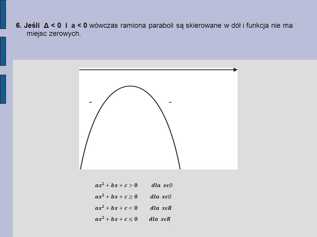 6. Jeśli Δ < 0 i a < 0 wówczas ramiona paraboli są skierowane w dół i funkcja nie ma miejsc zerowych.