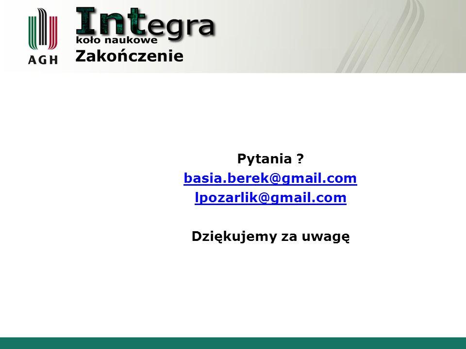 Zakończenie Pytania basia.berek@gmail.com lpozarlik@gmail.com Dziękujemy za uwagę