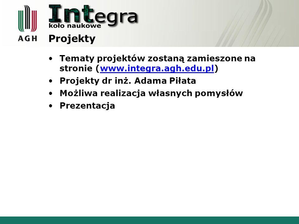 Projekty Tematy projektów zostaną zamieszone na stronie (www.integra.agh.edu.pl)www.integra.agh.edu.pl Projekty dr inż.