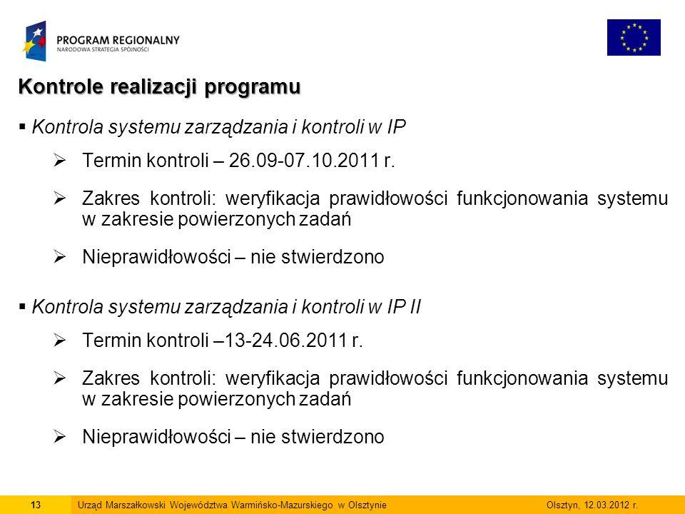 Kontrole realizacji programu  Kontrola systemu zarządzania i kontroli w IP  Termin kontroli – 26.09-07.10.2011 r.