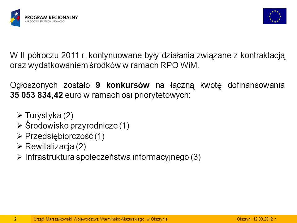 2Urząd Marszałkowski Województwa Warmińsko-Mazurskiego w Olsztynie Olsztyn, 12.03.2012 r.