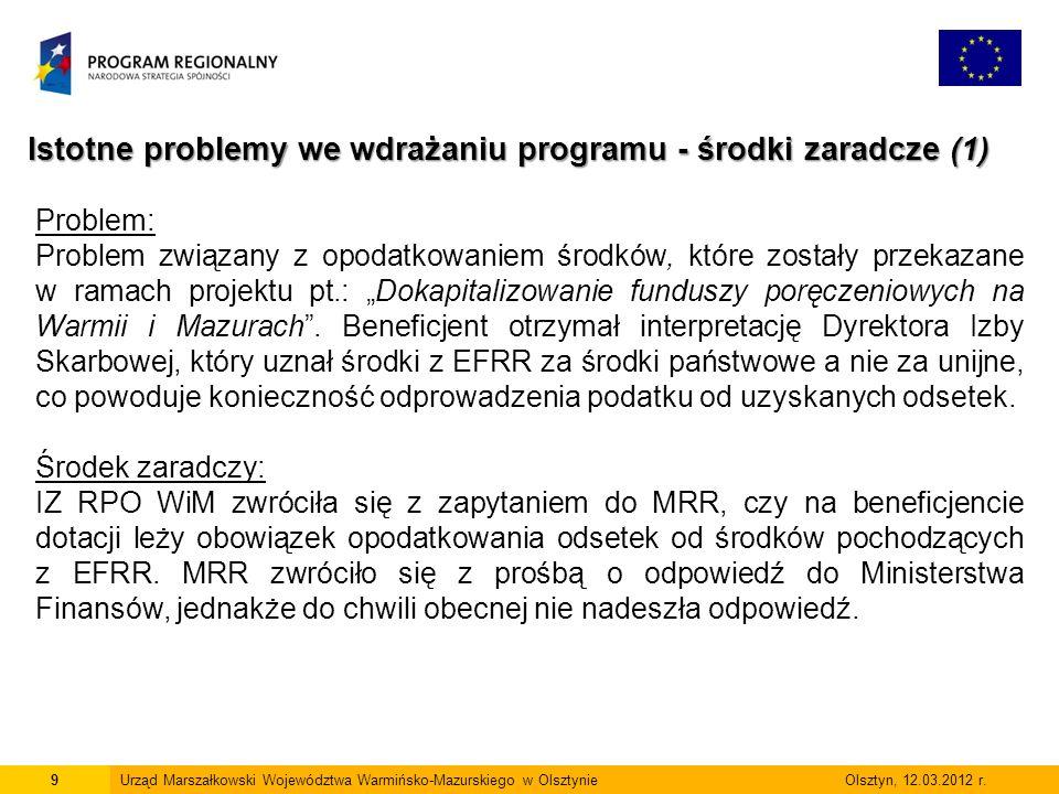 """9 Istotne problemy we wdrażaniu programu - środki zaradcze (1) Problem: Problem związany z opodatkowaniem środków, które zostały przekazane w ramach projektu pt.: """"Dokapitalizowanie funduszy poręczeniowych na Warmii i Mazurach ."""