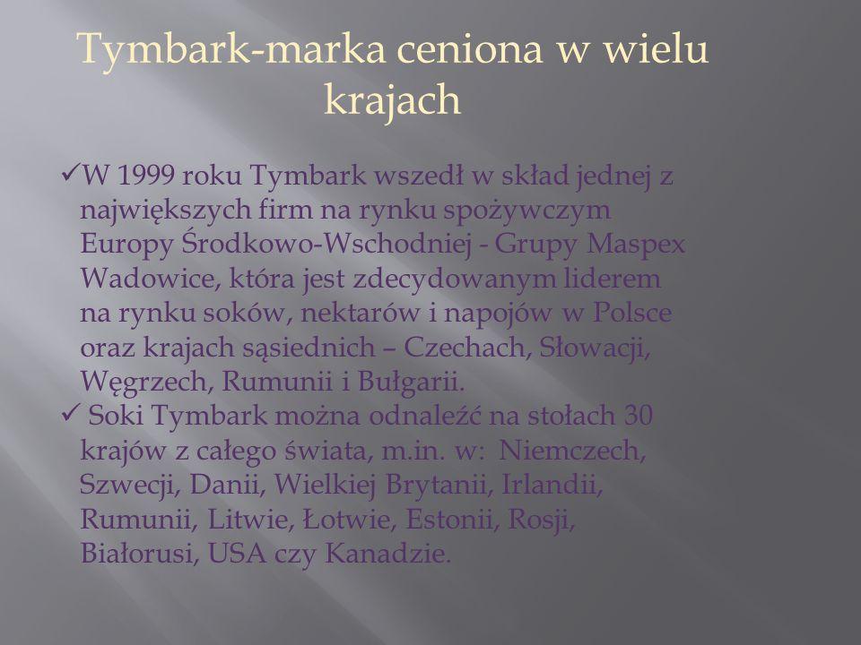 W 1999 roku Tymbark wszedł w skład jednej z największych firm na rynku spożywczym Europy Środkowo-Wschodniej - Grupy Maspex Wadowice, która jest zdecydowanym liderem na rynku soków, nektarów i napojów w Polsce oraz krajach sąsiednich – Czechach, Słowacji, Węgrzech, Rumunii i Bułgarii.
