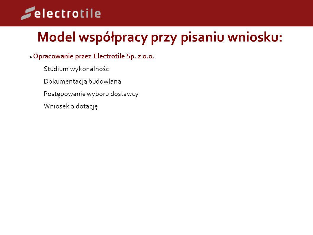 Model współpracy przy pisaniu wniosku: Opracowanie przez Electrotile Sp.