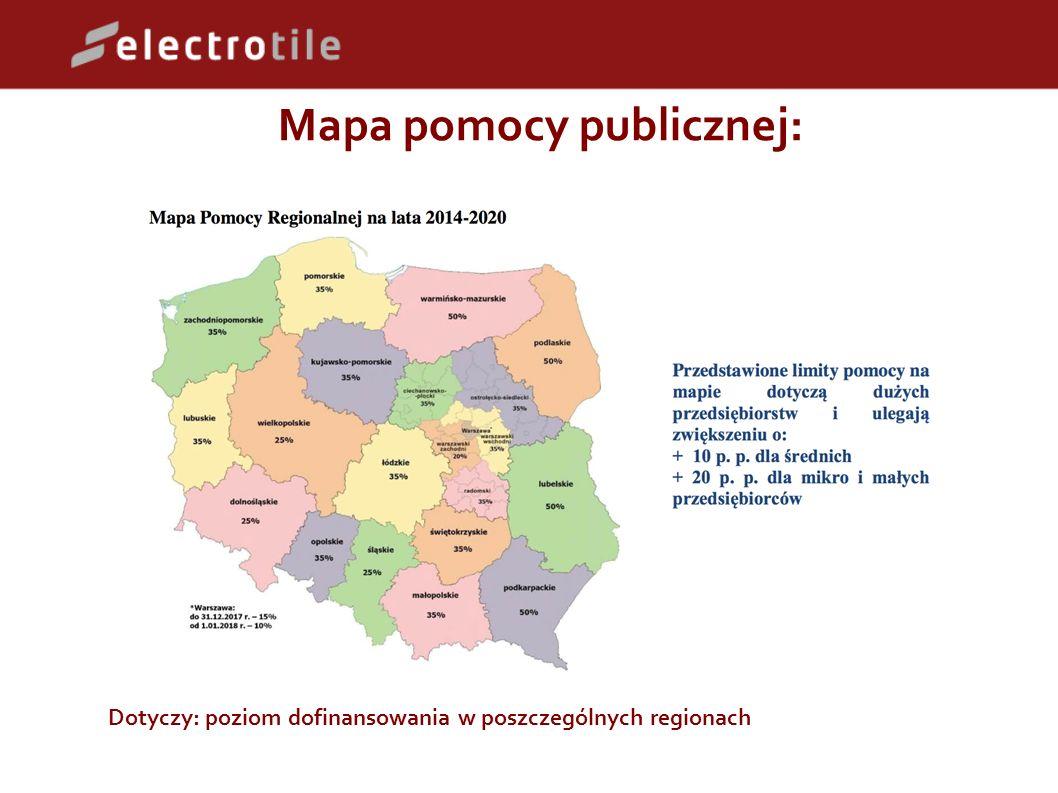 Mapa pomocy publicznej: Dotyczy: poziom dofinansowania w poszczególnych regionach