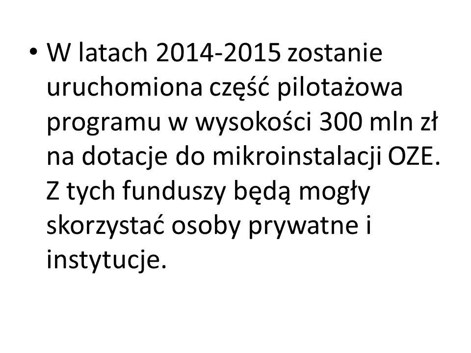 W latach 2014-2015 zostanie uruchomiona część pilotażowa programu w wysokości 300 mln zł na dotacje do mikroinstalacji OZE.