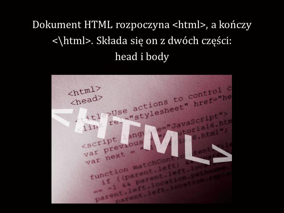 W części head zapisujemy tytuł strony, jej autora, opis strony i inne podstawowe informację.