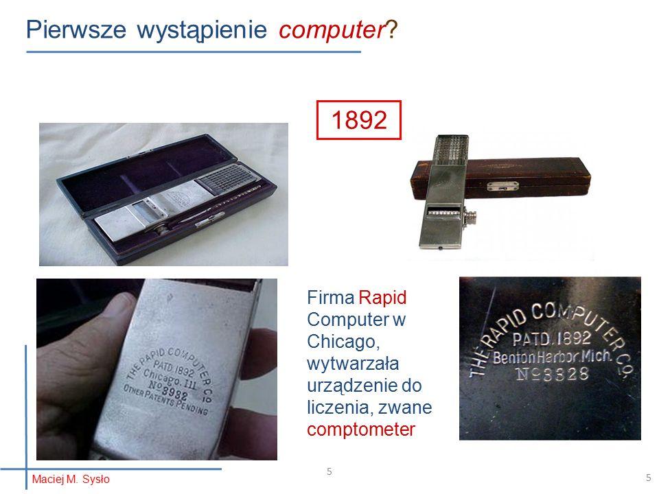 5 Pierwsze wystąpienie computer.