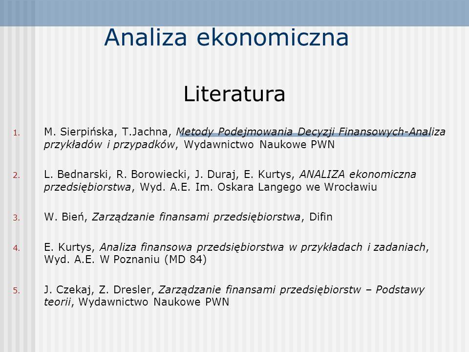 Analiza ekonomiczna Literatura 1. M.