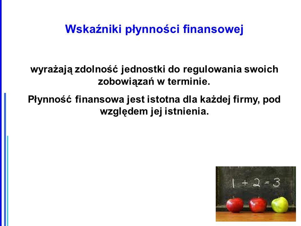 Wskaźniki płynności finansowej wyrażają zdolność jednostki do regulowania swoich zobowiązań w terminie.
