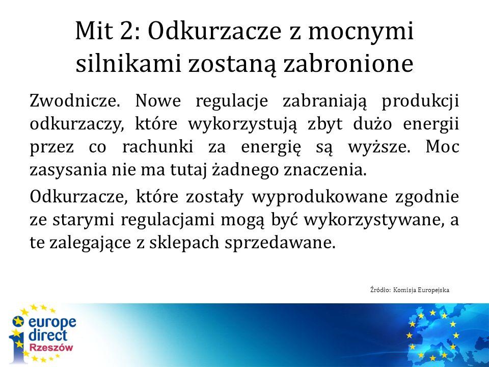 Mit 2: Odkurzacze z mocnymi silnikami zostaną zabronione Zwodnicze. Nowe regulacje zabraniają produkcji odkurzaczy, które wykorzystują zbyt dużo energ