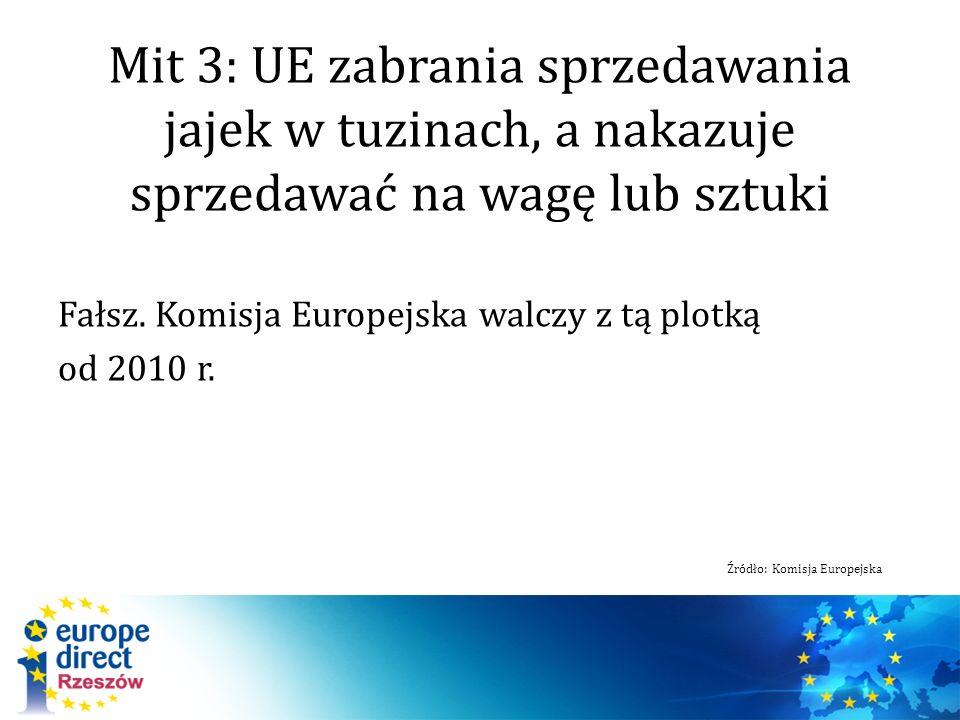 Mit 3: UE zabrania sprzedawania jajek w tuzinach, a nakazuje sprzedawać na wagę lub sztuki Fałsz. Komisja Europejska walczy z tą plotką od 2010 r. Źró