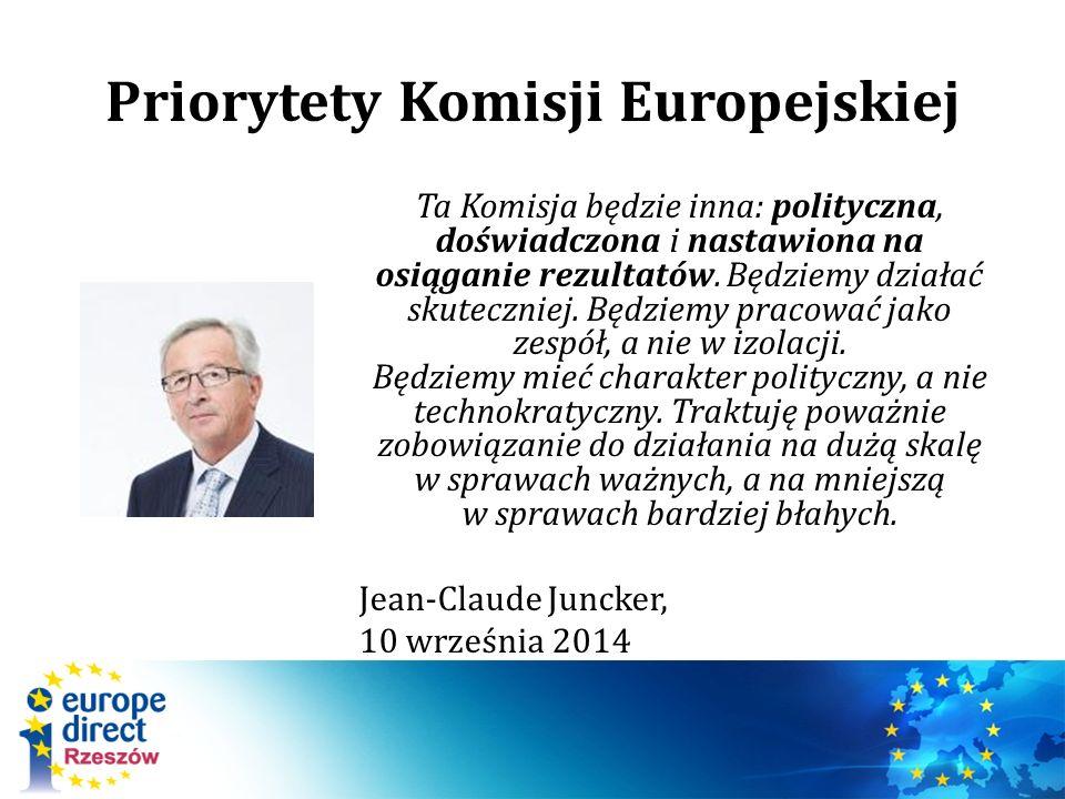 Priorytety Komisji Europejskiej Ta Komisja będzie inna: polityczna, doświadczona i nastawiona na osiąganie rezultatów. Będziemy działać skuteczniej. B
