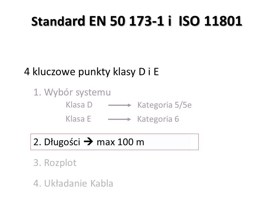 Kategoria 5/5e 1. Wybór systemu 2. Długości  max 100 m 3.