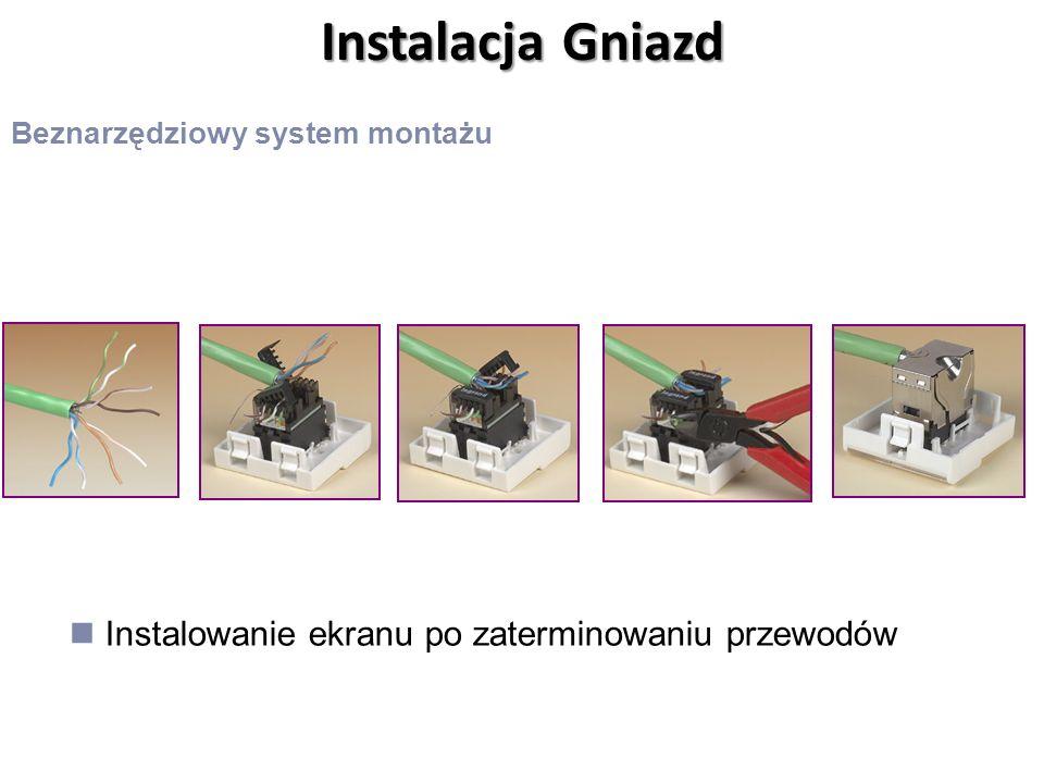 Instalacja Gniazd Beznarzędziowy system montażu Instalowanie ekranu po zaterminowaniu przewodów
