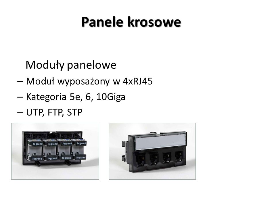 Panele krosowe Moduły panelowe – Moduł wyposażony w 4xRJ45 – Kategoria 5e, 6, 10Giga – UTP, FTP, STP