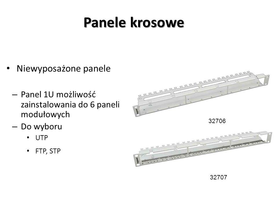 Panele krosowe Niewyposażone panele – Panel 1U możliwość zainstalowania do 6 paneli modułowych – Do wyboru UTP FTP, STP 32707 32706