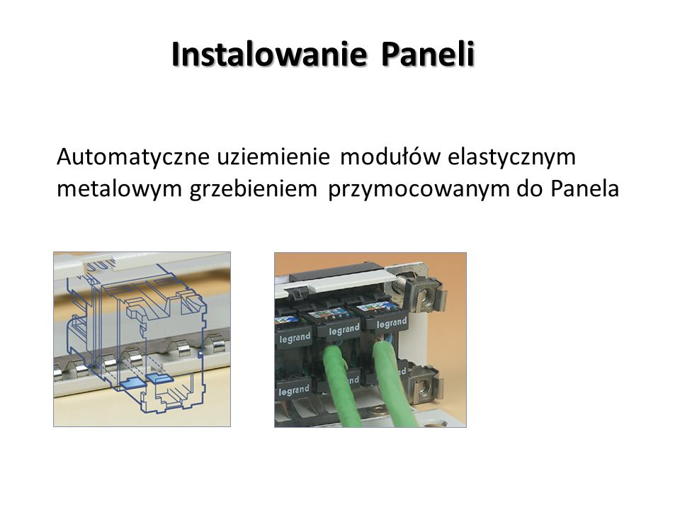 Instalowanie Paneli Automatyczne uziemienie modułów elastycznym metalowym grzebieniem przymocowanym do Panela