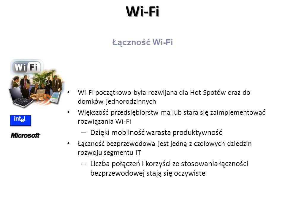 Wi-Fi Łączność Wi-Fi Wi-Fi początkowo była rozwijana dla Hot Spotów oraz do domków jednorodzinnych Większość przedsiębiorstw ma lub stara się zaimplementować rozwiązania Wi-Fi – Dzięki mobilność wzrasta produktywność Łączność bezprzewodowa jest jedną z czołowych dziedzin rozwoju segmentu IT – Liczba połączeń i korzyści ze stosowania łączności bezprzewodowej stają się oczywiste
