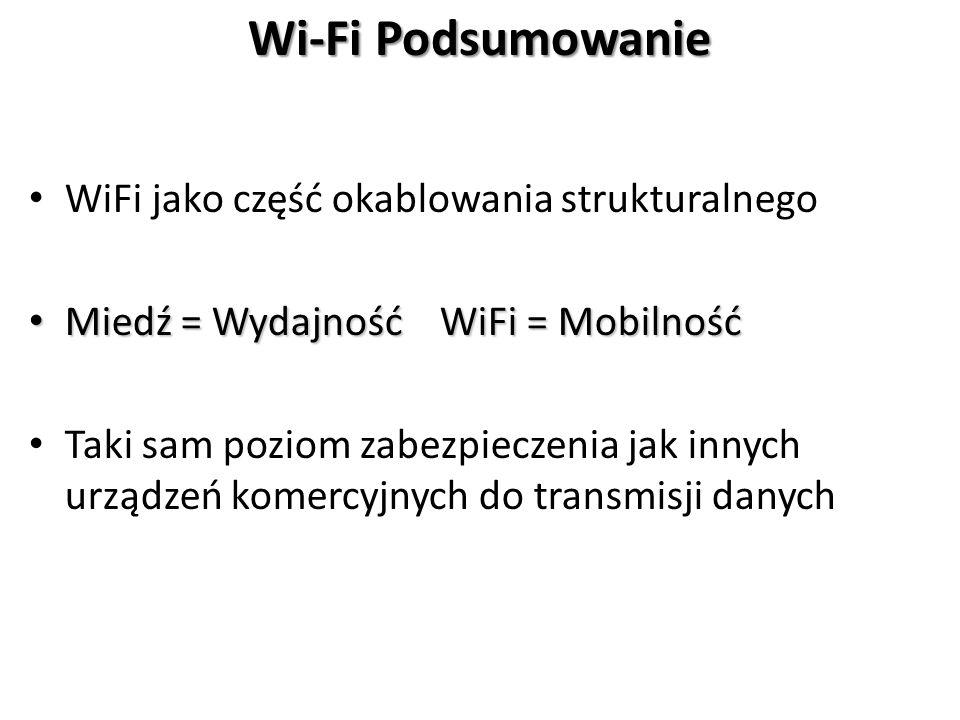 WiFi jako część okablowania strukturalnego Miedź = Wydajność WiFi = Mobilność Miedź = Wydajność WiFi = Mobilność Taki sam poziom zabezpieczenia jak innych urządzeń komercyjnych do transmisji danych Wi-Fi Podsumowanie