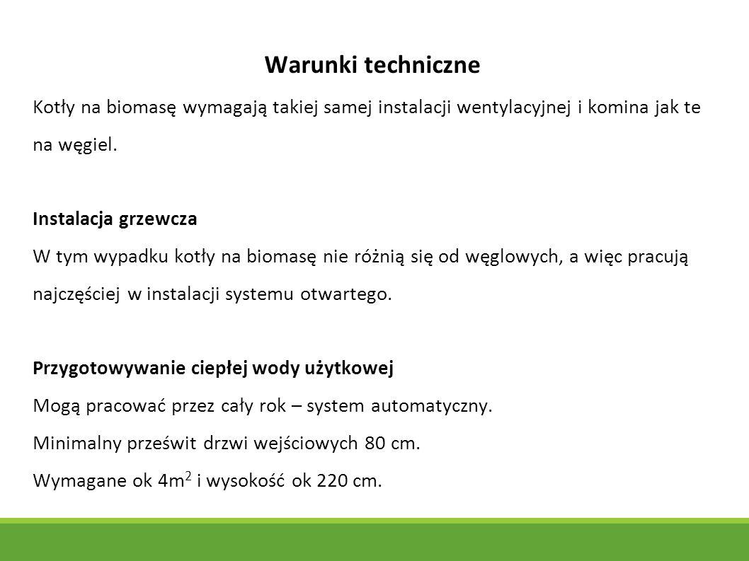 Warunki techniczne Kotły na biomasę wymagają takiej samej instalacji wentylacyjnej i komina jak te na węgiel.