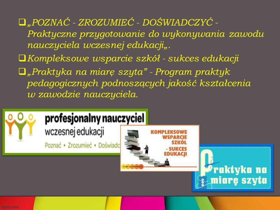 """ """"POZNAĆ - ZROZUMIEĆ - DOŚWIADCZYĆ - Praktyczne przygotowanie do wykonywania zawodu nauczyciela wczesnej edukacji""""."""