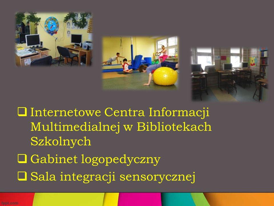  Internetowe Centra Informacji Multimedialnej w Bibliotekach Szkolnych  Gabinet logopedyczny  Sala integracji sensorycznej