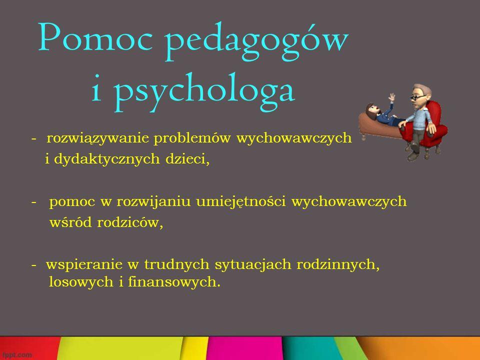 - rozwiązywanie problemów wychowawczych i dydaktycznych dzieci, -pomoc w rozwijaniu umiejętności wychowawczych wśród rodziców, - wspieranie w trudnych