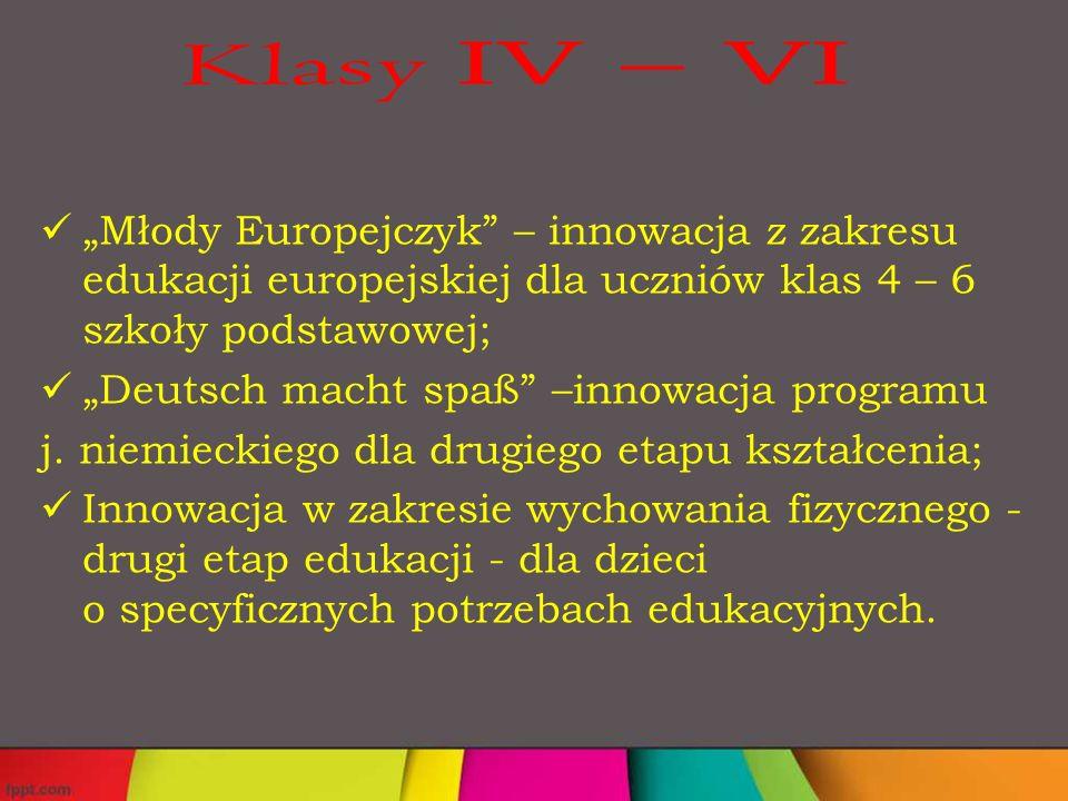 """""""Młody Europejczyk – innowacja z zakresu edukacji europejskiej dla uczniów klas 4 – 6 szkoły podstawowej; """"Deutsch macht spaß –innowacja programu j."""