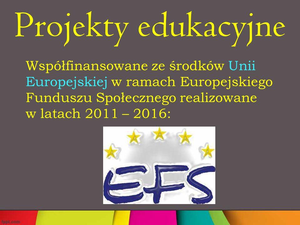 Współfinansowane ze środków Unii Europejskiej w ramach Europejskiego Funduszu Społecznego realizowane w latach 2011 – 2016: