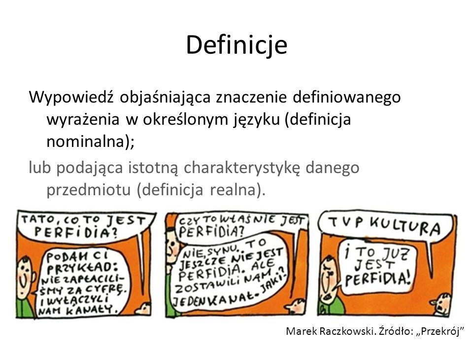 Definicje Wypowiedź objaśniająca znaczenie definiowanego wyrażenia w określonym języku (definicja nominalna); lub podająca istotną charakterystykę danego przedmiotu (definicja realna).