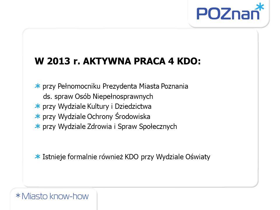 W 2013 r. AKTYWNA PRACA 4 KDO: przy Pełnomocniku Prezydenta Miasta Poznania ds.