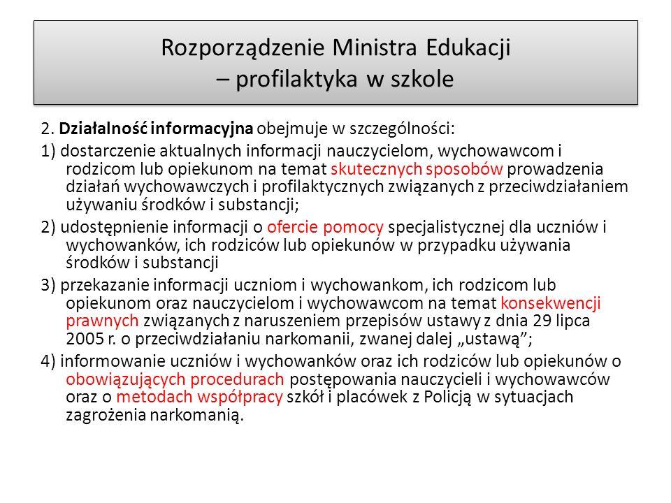 Rozporządzenie Ministra Edukacji – profilaktyka w szkole 2.