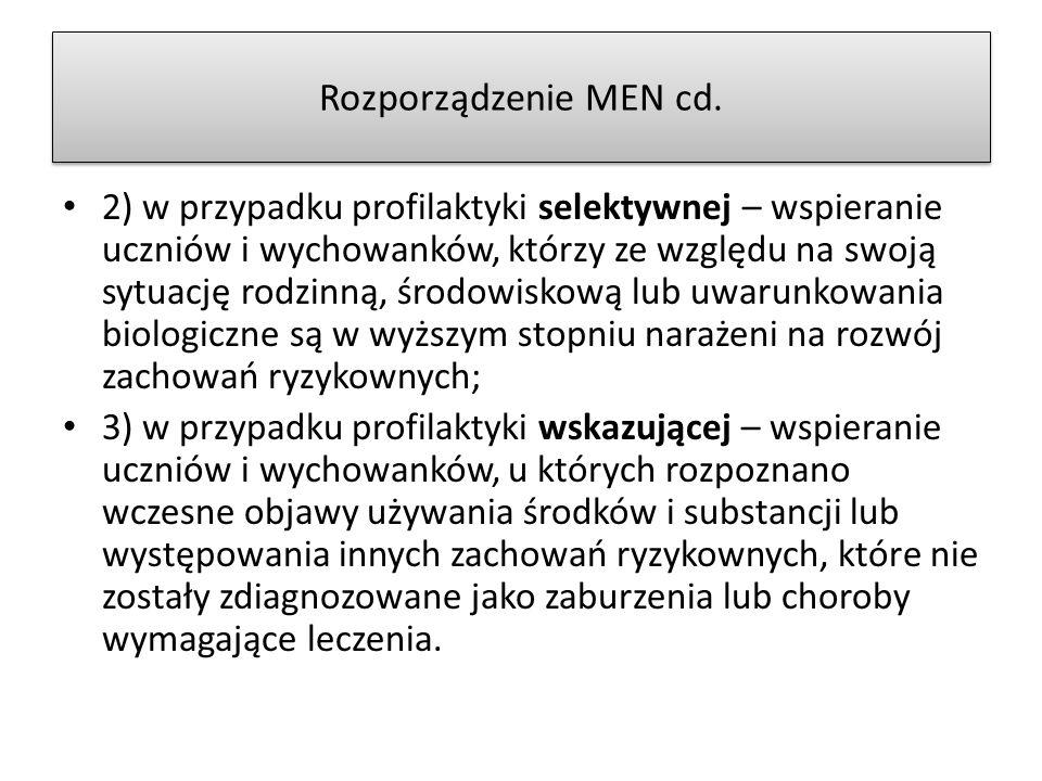 Rozporządzenie MEN cd.