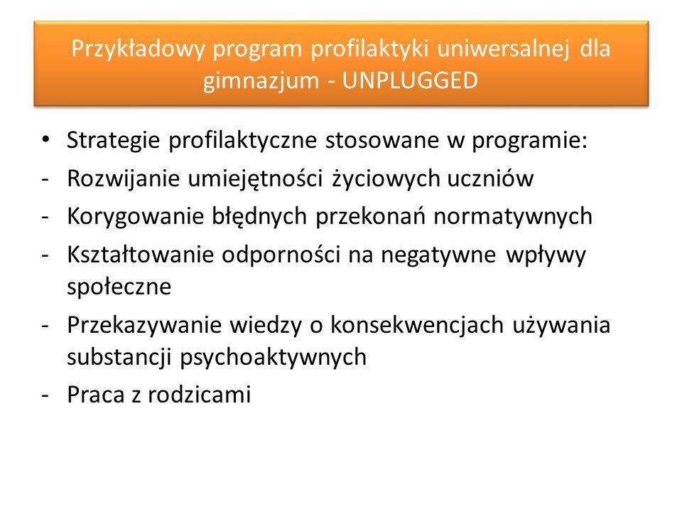 Przykładowy program profilaktyki uniwersalnej dla gimnazjum - UNPLUGGED Strategie profilaktyczne stosowane w programie: -Rozwijanie umiejętności życiowych uczniów -Korygowanie błędnych przekonań normatywnych -Kształtowanie odporności na negatywne wpływy społeczne -Przekazywanie wiedzy o konsekwencjach używania substancji psychoaktywnych -Praca z rodzicami