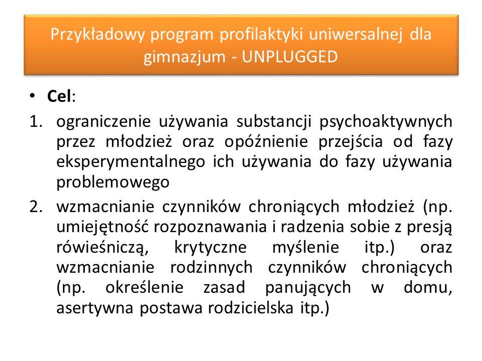 Przykładowy program profilaktyki uniwersalnej dla gimnazjum - UNPLUGGED Cel: 1.ograniczenie używania substancji psychoaktywnych przez młodzież oraz opóźnienie przejścia od fazy eksperymentalnego ich używania do fazy używania problemowego 2.wzmacnianie czynników chroniących młodzież (np.